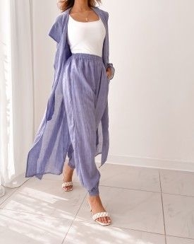 hooded longline coat with jogger in blue