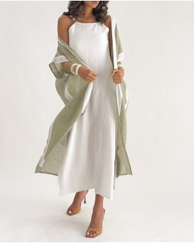 Outlined Bisht Kaftan in khaki and white