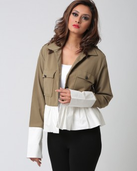 Front Pocket Military Jacket with Ruffle Details