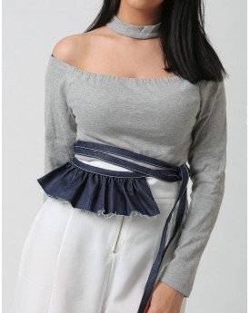 Denim Wrap Belt with Side Ruffle