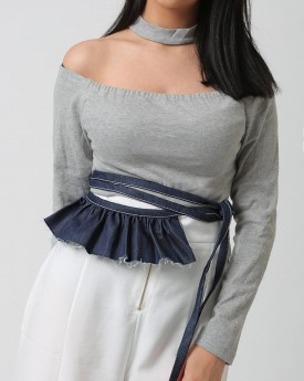 Denim Wrap Belt with Side Ruffle