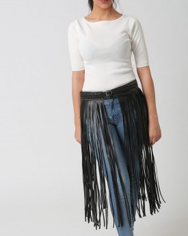 Stud Waist Belt with Long Tassel