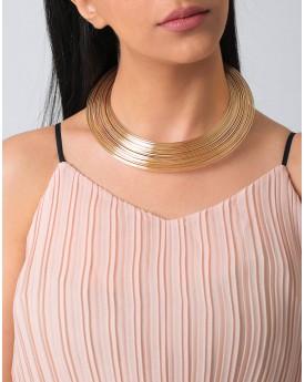Gold Tone Layered Elegance Choker