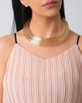 Gold Tone Layered Elegance Choker
