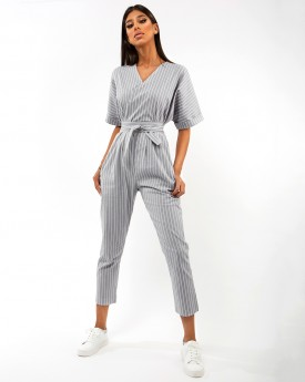 Striped Cotton Belted Jumpsuit