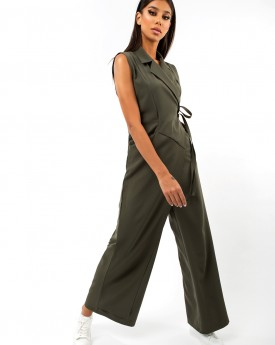 Khaki Wrapped Jumpsuit With Pocket Details