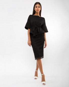 Belted Crepe Jacket with Lace Pencil Skirt