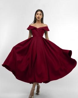 Off the shoulder maroon maxi prom dress