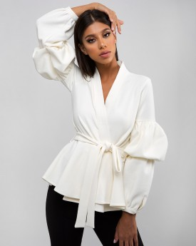 Off White Belted Wrapped Jacket