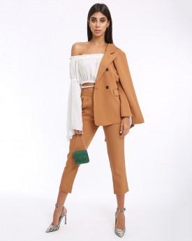 Camel Blazer & Cropped Slim Trousers