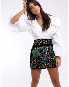 Front Embellishment Black Velvet Mini Skirt
