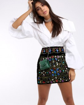 Front Embellishment Black Velvet Mini Skirt