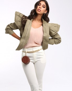 Khaki Ruffled Shoulder Biker Jacket