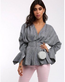Check Top with Exaggerated Sleeves