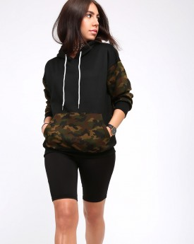 Black Pullover With Camouflage Details