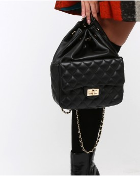Drawstring with Quilted Front Pocket Backpack