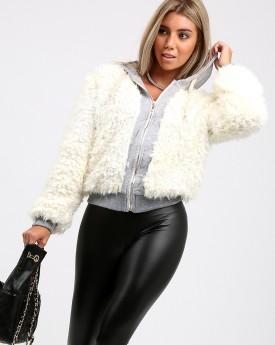 Shaggy Faux Fur Jacket With Grey Hood