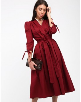 Wrapped Maroon Mid Length Dress
