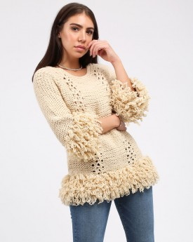 Delma Fringed and Wool Blend Sweater