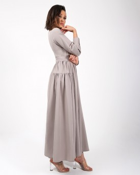 Classic Nude Maxi Dress with Belt