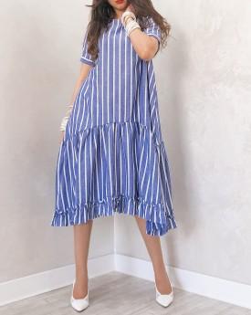 Smocked midi blue stripe dress