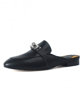 Black Leather Buckle Slippers