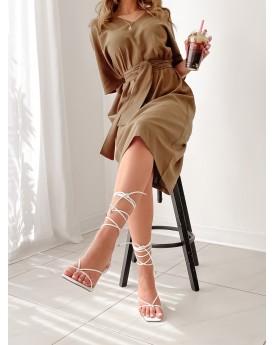 V neck khaki linen belted dress