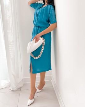 Waisted midi ocean blue dress
