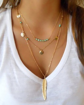 Layered Gold Tone Boho Style Necklace