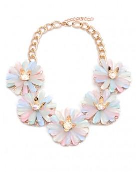 Pastel Faux Gem Flower Statment Necklace