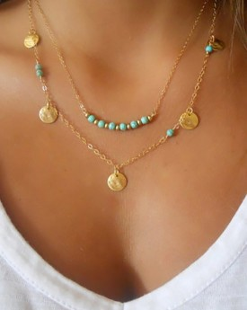 Multirow Gold Tone Beaded Necklace
