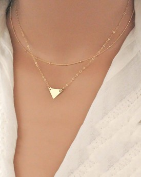 Layered Gold Tone Chain Necklace with Triangle Pendant