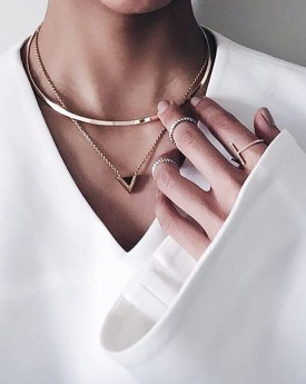 Bar Choker with Triangle Charm Necklace