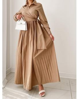 Khaki maxi dress with front wrap