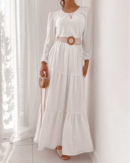 Belted tiered white crepe maxi dress