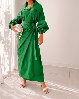 Cotton royal green maxi wrapped dress