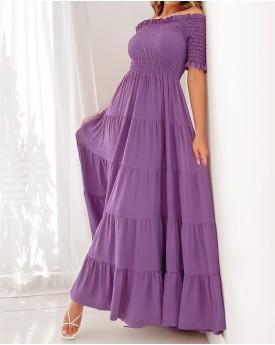 Smocked bodice maxi dress in lilac