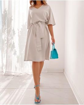 V neck light grey linen belted dress