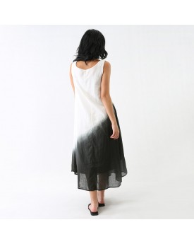 Ombre Jersey Maxi Dress With Side Frill