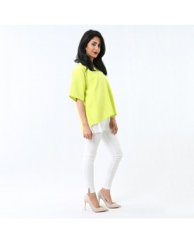 Double Layer Loose Blouse In Light Green