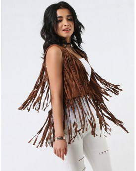 Suede Vest with Tassel