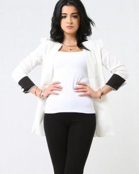 Lightweight White Jacket with Waist Cut