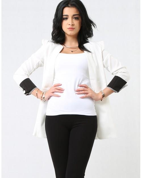 Lightweight White Jacket with Waist Cut