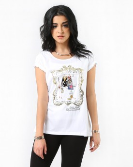 Sequin Detailed White T-shirt