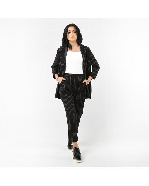 Tailored Jacket with Peg Trousers in Stripes
