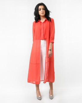 Orange Shirt with Fake Cardigan & Cropped Wide Leg Trousers with Front Split in White