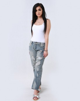 Slim Jeans With Raw Edge Details and Pearls