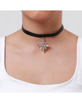 Snowflake Charm Leather Choker