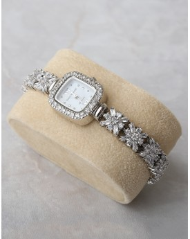 Silver Square Dial Watch With Crystal