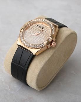 Black Faux Leather Strap Gem Encrusted Watch